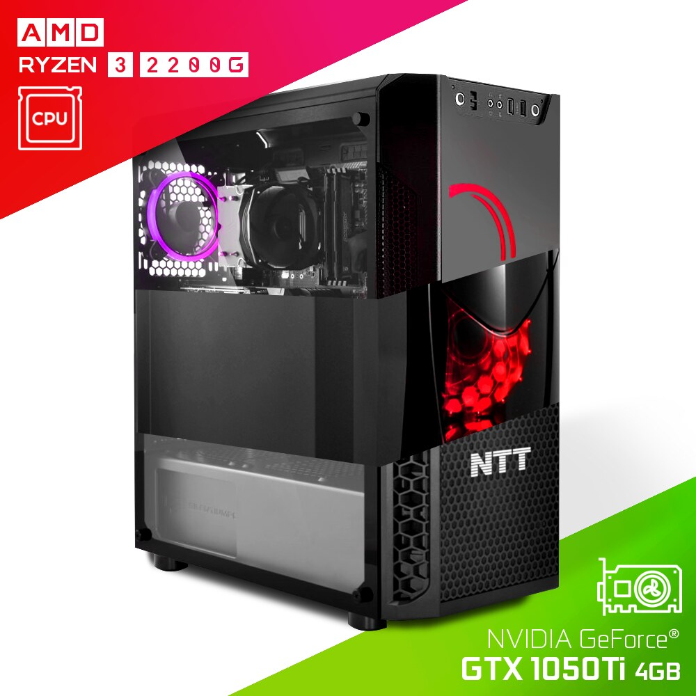 Komputer do gier NTT Game AMD Ryzen 3 2200G + GTX 1050Ti 4GB